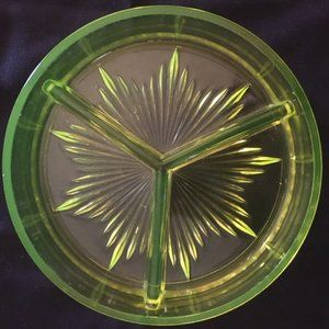 Neon Green Vintage Three Section Dish 1930s
